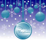 Christmas greeting card in blue Stock Photos