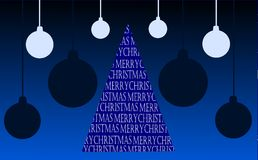 Christmas greeting card in blue tones with tree Royalty Free Stock Photo