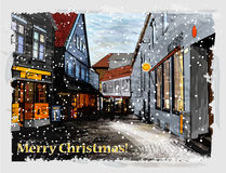 Christmas greeting card. Illustration of snowy street. Christmas greeting card royalty free illustration