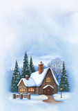 Christmas greeting card. With illustration of winter landscape Stock Images