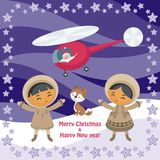Christmas card with Eskimo people vector illustration