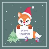 Christmas greeting card with  red fox and birds Royalty Free Stock Images