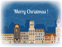 Christmas greeting card. Christmas greeting card with the image of snow-covered city royalty free illustration