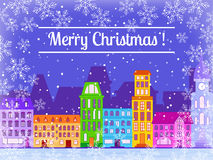 Christmas greeting card. Christmas greeting card with the image of snow-covered city stock illustration