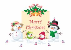 Cute snowmen christmas background. Christmas greeting card with the image of snowman. Vector background Stock Photos