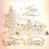 Christmas Greeting Card In Vintage Style With Hand Drawn Landscape Royalty Free Stock Photos