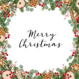 Christmas greeting card, invitation with Christmas wreath made of fir tree and eucalyptus branches, holly berries and. Gingerbread cookies on white background Royalty Free Stock Image
