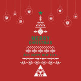 Christmas greeting card or invitation red background. Royalty Free Stock Images