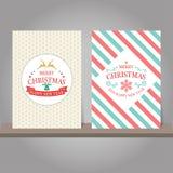 Christmas greeting card or invitation set. Vintage design. Royalty Free Stock Photos