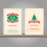 Christmas greeting card or invitation set. Vintage design. Stock Photos