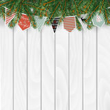 Christmas greeting card, invitation, web banner with traditional decorations. Fir, spruce branches, string of paper flags. Christmas greeting card, invitation Stock Images