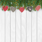 Christmas greeting card, invitation, web banner with traditional decorations. Fir, spruce evergreen branches, string of hearts. Royalty Free Stock Photo