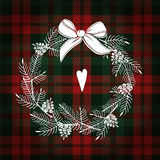 Christmas greeting card, invitation. White Christmas wreath made of pine branches and cones. Tartan checkered plaid,  illu Stock Image