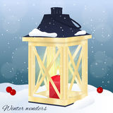 Christmas greeting card or invitation. Winter scene, wooden lantern with candle on snow. Christmas card in cartoon style. Vector illustration. New Year Stock Images