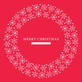 Merry Christmas snowflakes flat red postcard. Christmas greeting card / invite simple template: round frame design in two colors very bright Royalty Free Stock Photography