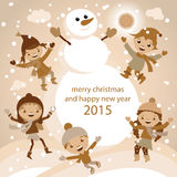Christmas Greeting Card Kids, Snow and Snowman vector Royalty Free Stock Photos