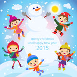 Christmas Greeting Card Kids, Snow and Snowman vector Royalty Free Stock Photography
