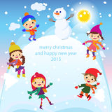 Christmas Greeting Card Kids, Snow and Snowman vector Stock Image
