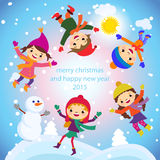 Christmas Greeting Card Kids, Snow and Snowman vector Royalty Free Stock Images