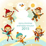 Christmas Greeting Card Kids, Snow and Snowman vector Stock Photography