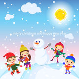 Christmas Greeting Card Kids, Snow and Snowman vector Royalty Free Stock Photo