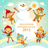 Christmas Greeting Card Kids, Snow and Snowman Royalty Free Stock Image