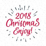 Christmas greeting card with label consisting sign 2018. Christmas greeting card with label consisting sign 2018 Christmas enjoy with black sunburst on snow Stock Image