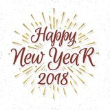 Christmas greeting card with label consisting sign Happy New Yea. R 2018 with gold sunburst on snow holiday background. Vector Illustration Stock Photography