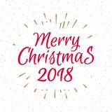 Christmas greeting card with label consisting sign Merry Christm. As 2018 with gold sunburst on snow holiday background. Vector Illustration Royalty Free Stock Photography