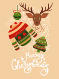 Christmas greeting card with lettering. Vector Christmas greeting card with sweater, reindeer, christmas ball, christmas tree and lettering. Illustration xmas royalty free illustration