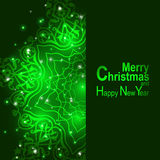 Christmas greeting card light and snowflakes vector background. Christmas and New Years green background with snowflakes Stock Photography