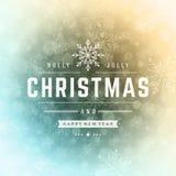 Christmas greeting card lights and snowflakes Royalty Free Stock Image
