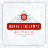 Christmas greeting card lights and snowflakes Stock Photos