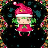Christmas greeting card with little girl Stock Images