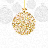 Christmas greeting card. Luxury Christmas and New Year greeting card with golden glitter texture on rich Christmas ball, space for your text on white background Stock Image