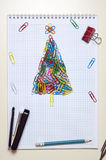 Christmas greeting card made of stationery Royalty Free Stock Images