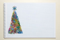 Christmas greeting card made of stationery Stock Images
