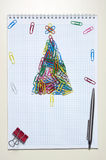 Christmas greeting card made of stationery Stock Image