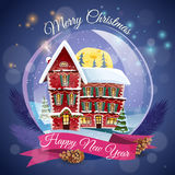 Christmas Greeting Card. With magic house at night lights background and happy new year wishing flat vector illustration Stock Image