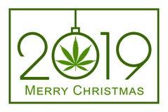 Christmas greeting card with marijuana leaf