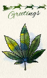 Christmas greeting card with marijuana leaf and Santa Royalty Free Stock Image