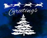 Christmas greeting card with marijuana leaf and Santa Stock Photography