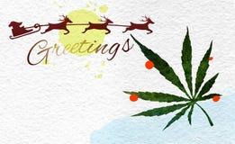 Christmas greeting card with marijuana leaf and Santa Stock Photos