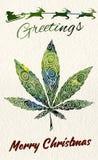 Christmas greeting card with marijuana leaf and Santa. Christmas greeting card with marijuana leaf vector image Stock Image