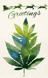 Christmas greeting card with marijuana leaf and Santa Royalty Free Stock Photography