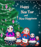 Christmas greeting card with  matreshka Stock Photo