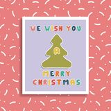 Christmas greeting card on memphis background. Holiday banner Stock Images