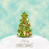 Christmas Greeting Card. Merry Christmas Greeting Card - Beautifully Decorated Christmas Tree in the Midst of Snowy Field. Vector Illustration Royalty Free Stock Images