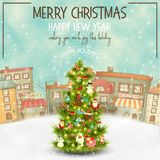 Christmas Greeting Card. Merry Christmas Greeting Card - Beautifully Decorated Christmas Tree in the Winter Small Town. Vector Illustration. Square Format Royalty Free Stock Images