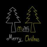 Christmas Greeting Card, Merry Christmas, christmas tree and gift illustration Stock Photos